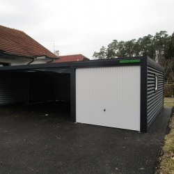 Antracid garaža z rolo vrati in oknom