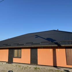 Valmetal črna mat z linijskimi snegobrani na strehi lokala
