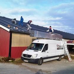 Hosekra alu profili montaža na trapez streho 180kW.