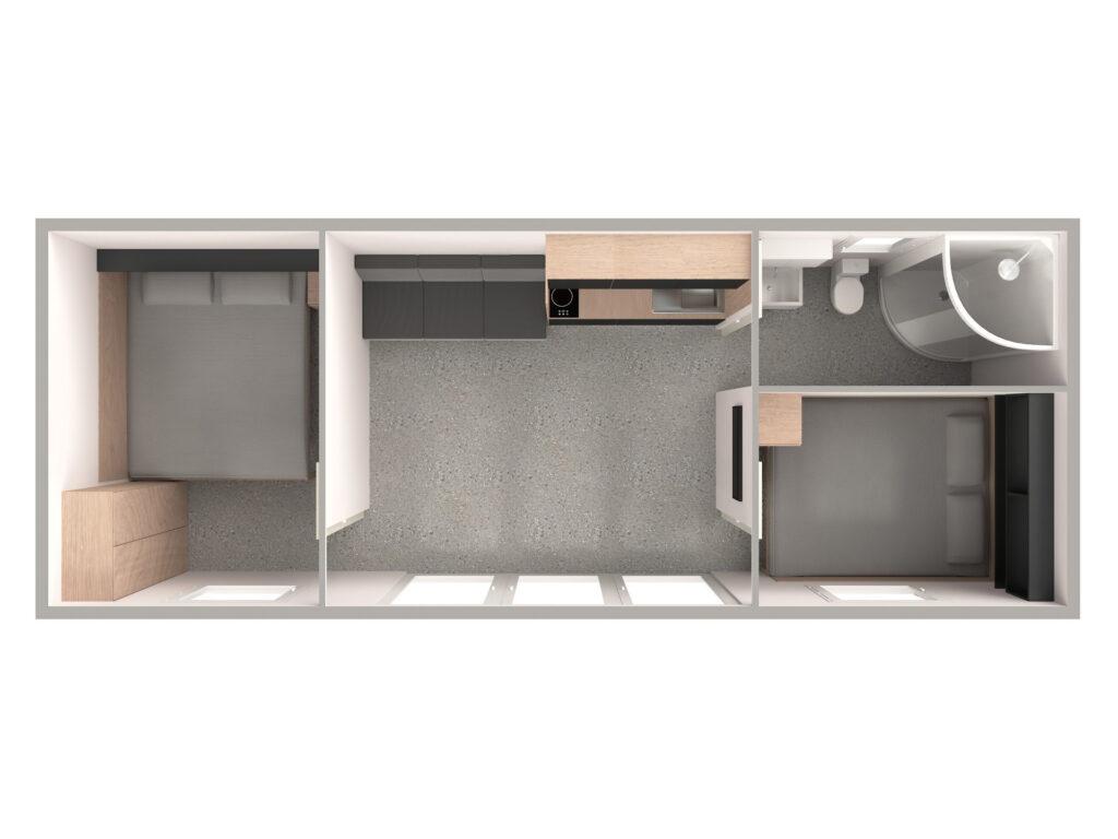 Tloris 1 (temno, kopalnica desno)