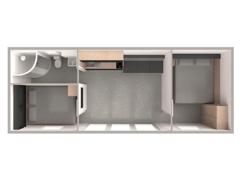 Tloris 1 (temno, kopalnica levo)