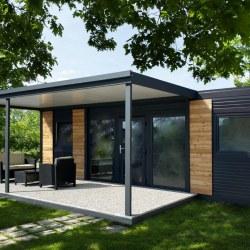 Hišica Hosekra EKO+ antracit s teraso, ki ima prane plošče